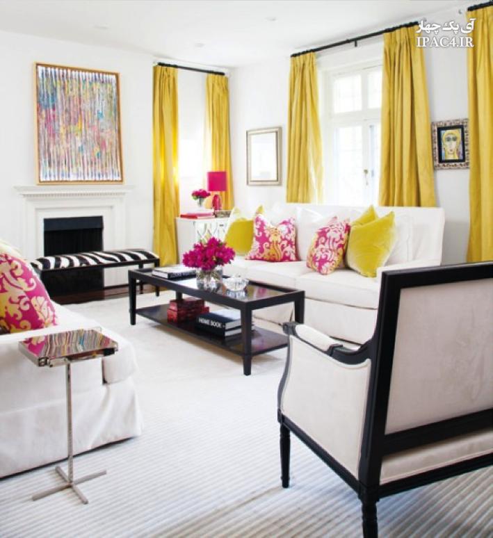 عکس از دکوراسیون منزل با پرده ی زرد رنگ,عکس پرده,مدل پرده,پرده اتاق خواب,پرده پذیرایی,معماری داخلی,مبلمان,دکوراسیون خانه