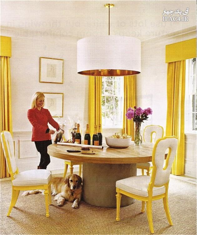 عکس از دکوراسیون منزل با پرده ی زرد رنگ,عکس پرده,مدل پرده,پرده اتاق خواب,پرده پذیرایی,معماری داخلی,مبلمان,دکوراسیون خانه,دکوراسیون زرد رنگ,مبلمان زرد