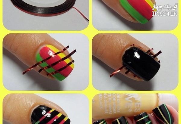 آموزش تصویری طراحی ناخن,مدل ناخن,مدل طراحی ناخن,چگونه ناخن خود را با لاک طراحی کنیم؟,آموزش مرحله به مرحله طراحی ناخن